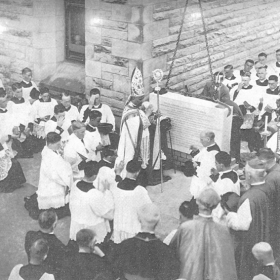 The most Reverend P. Bernardini-Apostolic Delegate-blessing the foundation stone of the Cardinal Cerretti Memorial Chapel-8 april-1934.Source-Manly-Vol4-No4-1934-p17